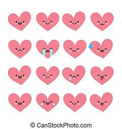 mignon, emoticons, illustration., coeur, set., character., émotions, valentin, s, vecteur, divers, icons., collections, avatar