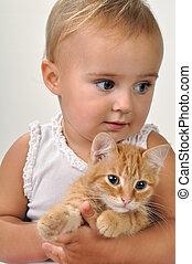 mignon, enfant, chat