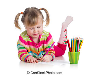 mignon, enfant, dessin, coloré, crayons