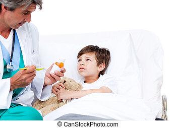 mignon, enfant, prendre, toussez médicament