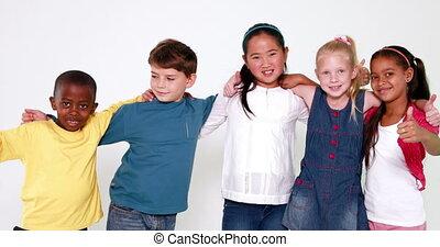 mignon, enfants, sourire, appareil photo