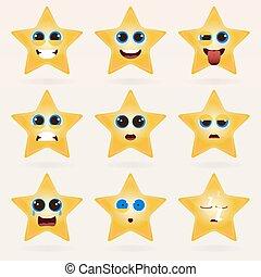 mignon, ensemble, étoile, emoticons.