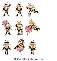 mignon, ensemble, abeille, icônes