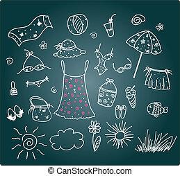 mignon, ensemble, -, accessoires, vecteur, plage