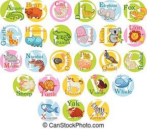 mignon, ensemble, alphabet., animal