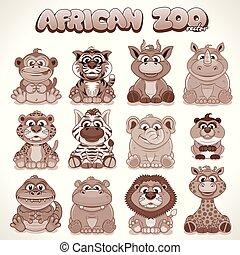 mignon, ensemble, animals., vecteur, caractères, dessin animé