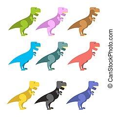 mignon, ensemble, animaux, coloré, effrayant, period., grand, angryl, dinosaurs., prédateur, t-rex, tyrannosaurus, préhistorique, rex., ancien, dinosaur., reptile.
