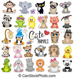 mignon, ensemble, animaux, dessin animé