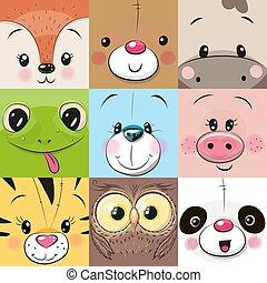mignon, ensemble, animaux, faces