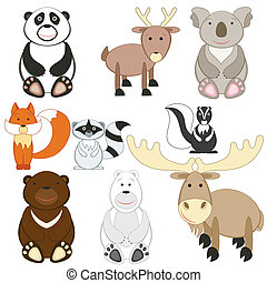 mignon, ensemble, animaux, fond, blanc, dessin animé