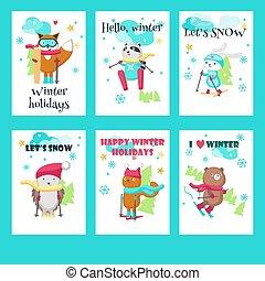 mignon, ensemble, animaux, vecteur, ski, cartes