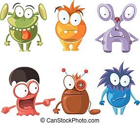 mignon, ensemble, caractère, dessin animé, vecteur, monstres