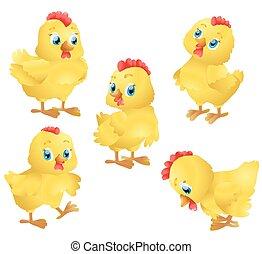 mignon, ensemble, chickens., illustration, vecteur, dessin animé