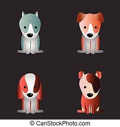 mignon, ensemble, chiens
