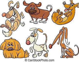 mignon, ensemble, chiens, illustration, dessin animé