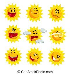 mignon, ensemble, coloré, face soleil, vecteur, caractères, illustrations, émotif, dessin animé, emojis.