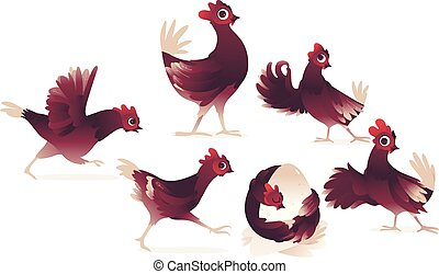 mignon, ensemble, coq, vecteur, poussin, poulet, coq, dessin animé