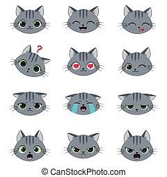 mignon, ensemble, dessin animé, émotions, chat