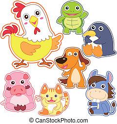 mignon, ensemble, dessin animé, animal