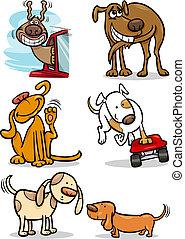 mignon, ensemble, dessin animé, chiens