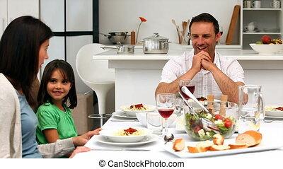 mignon, ensemble, dinning, famille