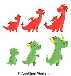 mignon, ensemble, dragons