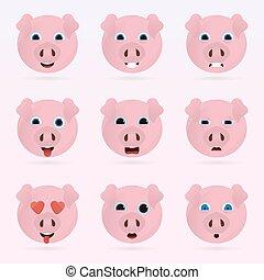 mignon, ensemble, emoticons., cochon
