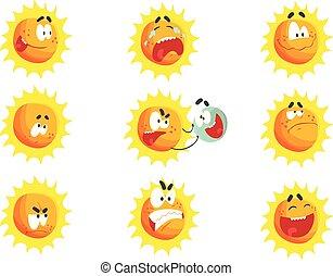 mignon, ensemble, emoticons., coloré, face soleil, vecteur, divers, caractères, illustrations, émotif, dessin animé