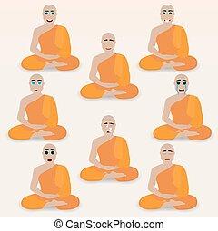 mignon, ensemble, emoticons., moine
