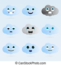 mignon, ensemble, emoticons., nuage
