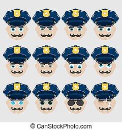 mignon, ensemble, emoticons., policier