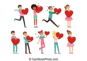 mignon, ensemble, gens papier, enamored, plat, valentin, day., s, vecteur, white., caractères, cœurs, préparer, hands., rouges