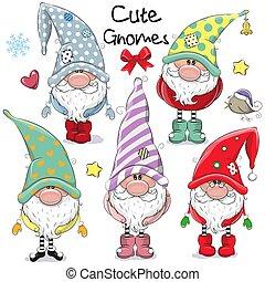 mignon, ensemble, gnomes, dessin animé