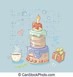 mignon, ensemble, grand, gâteau anniversaire, fête, éléments, heureux