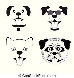 mignon, ensemble, illustration., dessin animé, vecteur, chiens