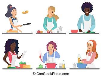 mignon, ensemble, illustration., gens, cuisine, isolé, vecteur, dessin animé, heureux