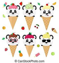 Panda Glace Mignon Manger Cream Glace Panda Dessin