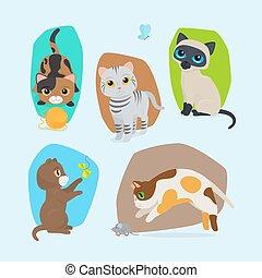 mignon, ensemble, isolé, illustration, chatons