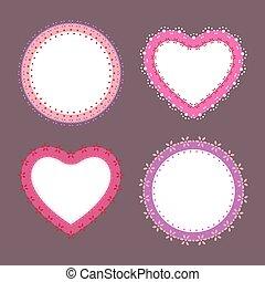 mignon, ensemble, lacez coeur, étiquettes, illustration, vecteur, 4, frontière, rond