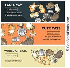 mignon, ensemble, mondiale, promotionnel, chats, internet, affiches
