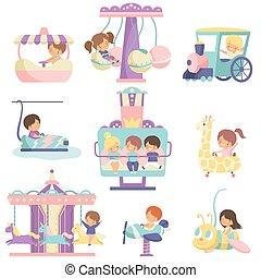 mignon, ensemble, parc, filles, illustration, garçons, vecteur, attractions, amusement, avoir, amusement