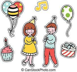 mignon, ensemble, pièces, anniversaire