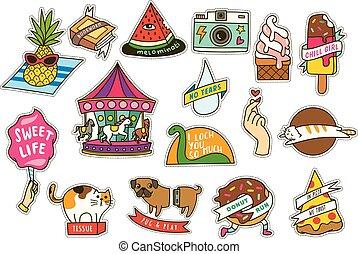 mignon, ensemble, pizza, pièces, glace, etc, mode, carrousel, crème