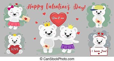 mignon, ensemble, plat, accessoires, valentin, conception, style., coeur, six, day., divers, rouges, heureux, ours blanc, caractères, letter., poses, dessin animé, balloon, s, vecteur