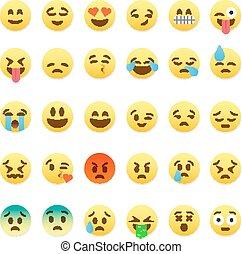 mignon, ensemble, plat, smiley, emoticons, conception, emoji