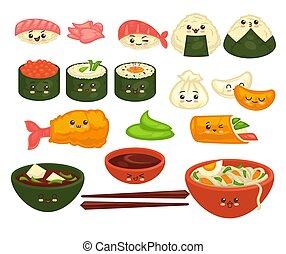 mignon, ensemble, plats, affiche, vecteur, asiatique, faces, blanc