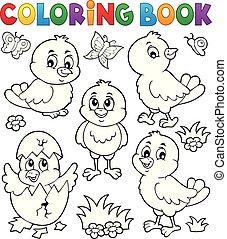 mignon, ensemble, poulets, topic, livre, 1, coloration