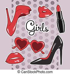 mignon, ensemble, rouge lèvres, coeur, pourpre, filles, sur, formé, polka, illustration, élevé, arrière-plan., vecteur, lustré, lunettes, armé, lèvres, autocollants, chaussures, point