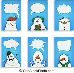 mignon, ensemble, six, snowmen.