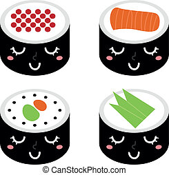 mignon, ensemble, sushi, isolé, blanc, dessin animé